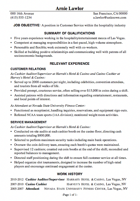 Sample Resume Hotel Jobs Hospitality Hotel Front Desk