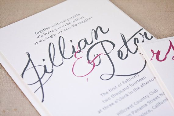 Wedding Invitation Thoughts: Calligraphy Script Wedding Invitation. Thoughts? @Michelle