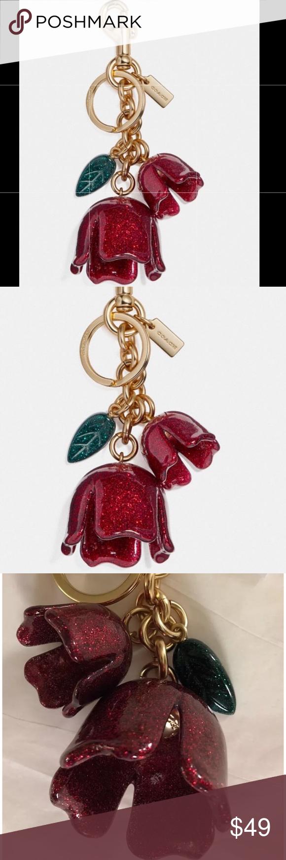 4d83463a Authentic COACH glitter tea rose bag charm-Red.🌹 NWT | My Posh ...