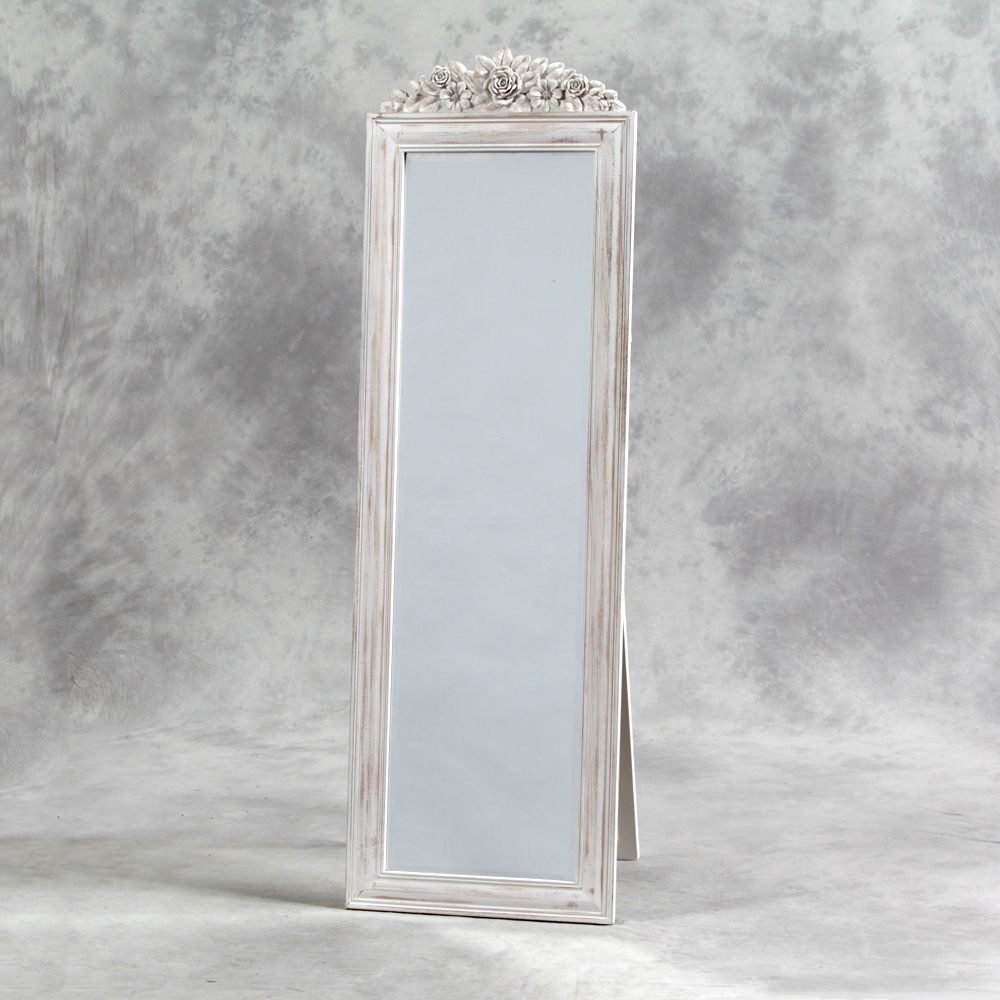 NEW Shabby Chic Distressed Tall White Rose Cheval Free Standing ...
