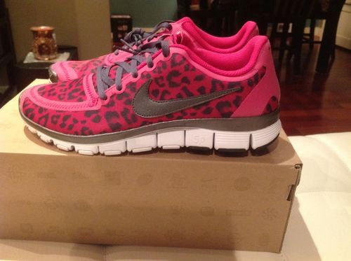 f873a6c7092d2 Womens Nike Free 5.0 V4 Leopard Pink Running Shoe New Size 10 LIMITED  EDITION