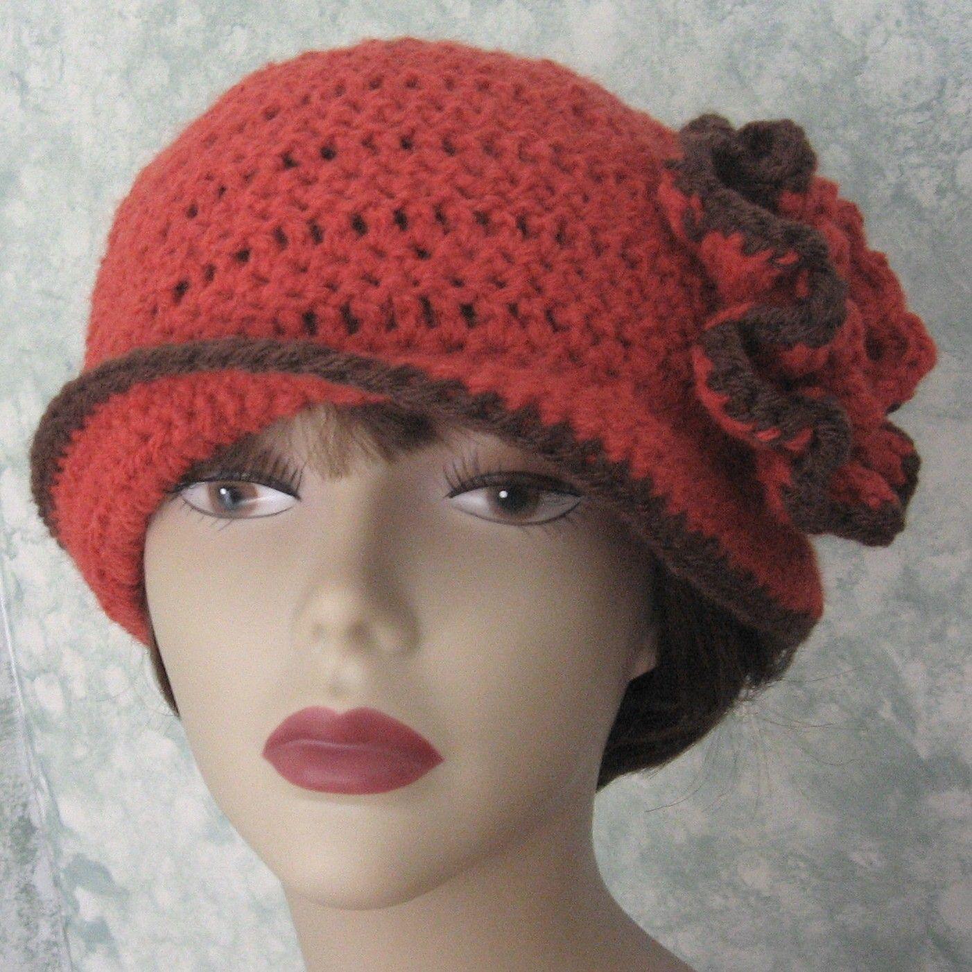 Crochet Pattern Womens Flapper Hat ePattern With Double Flower Trim ...