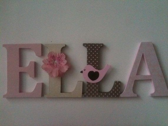 Wooden Letters For Nursery In Pink Tan And Brown By Summerolivias