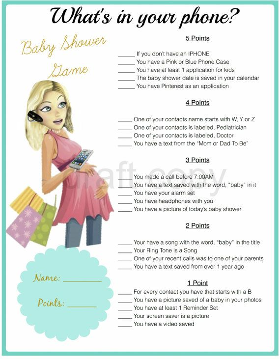 Baby Shower Game-Whats in your phone by 31Flavorsofdesign on Etsy
