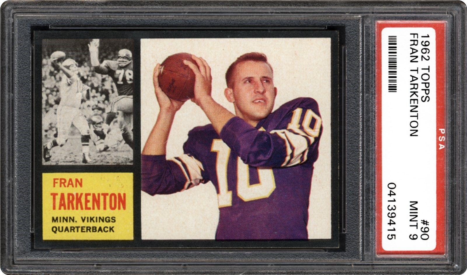 1962 Topps Fran Tarkenton PSA 9 Football trading cards