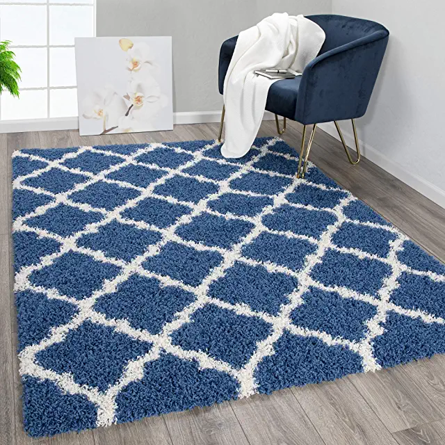 Amazon Com Soft Blue Rug 5x7 With Images Ottomanson Rugs Trellis Design