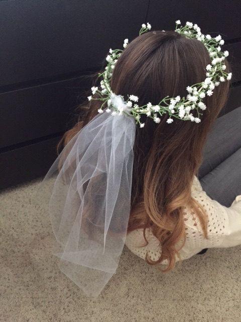 Bachelorette Bridal Baby S Breathe Flower Headband With Veil Bridal Headband Veil Bridal Shower Veil Flower Crown Wedding