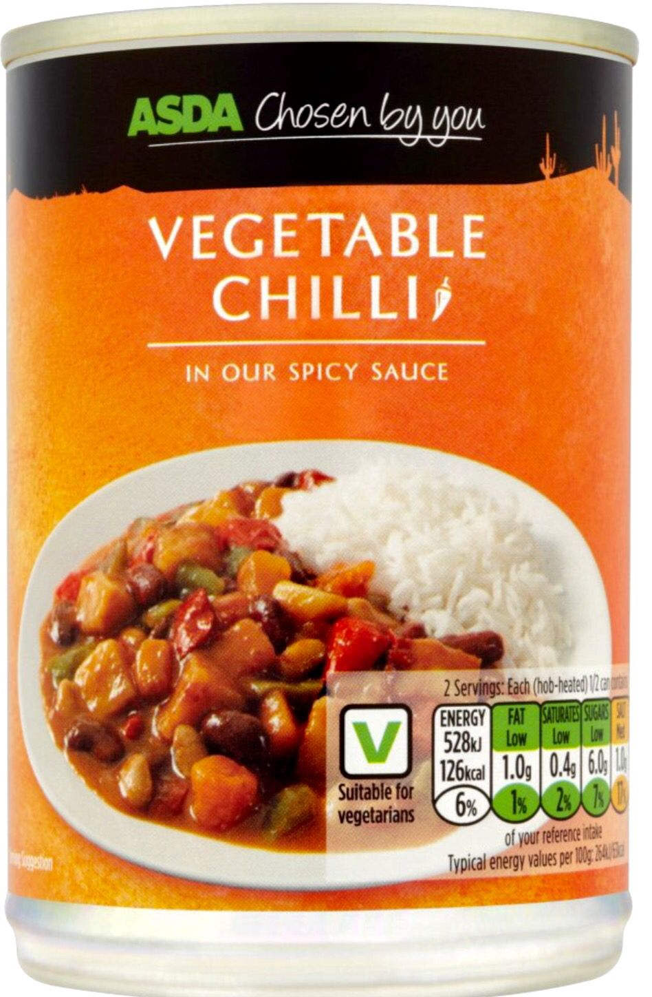 Asda chosen by you vegetable chilli canned 400g can