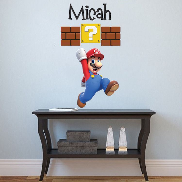 Super Mario Bros Personalized Wall Decal   Video Game Wall Decal Murals    Primedecals