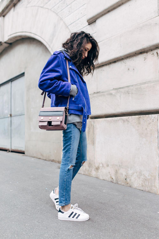 Veste jean bleu electrique