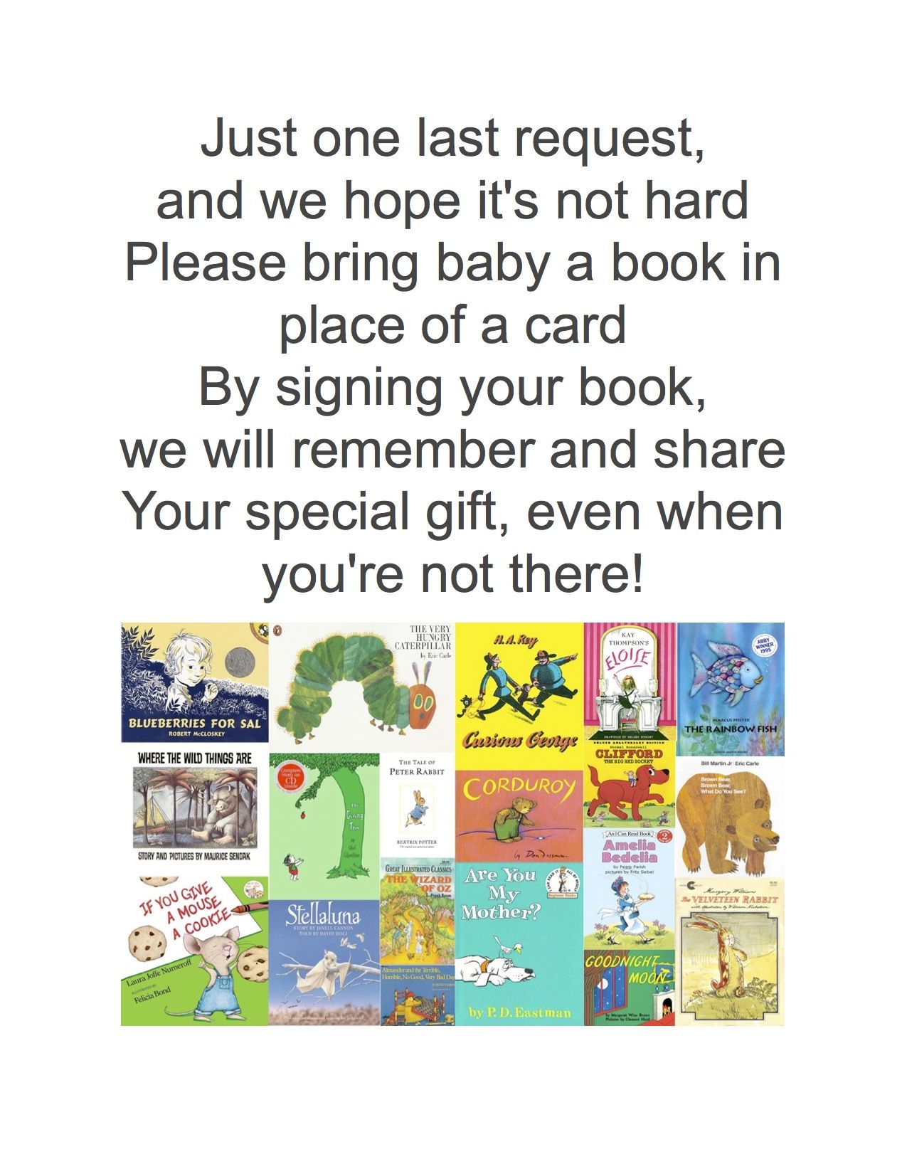 Bring a book instead of a card baby shower ideas baby