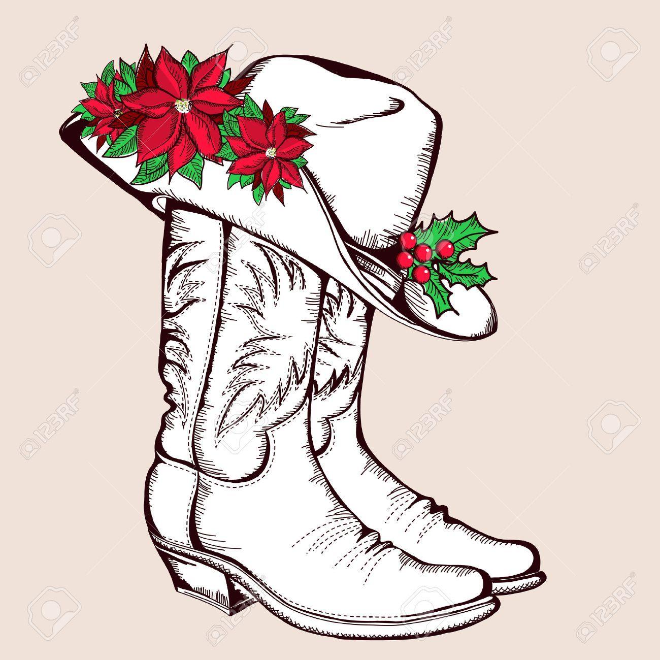 Botas de vaquero de Navidad y la ilustración gráfica hat.Vector con flor de  pascua aislados para el diseño Foto de archivo - 23321273 d12afc6a450