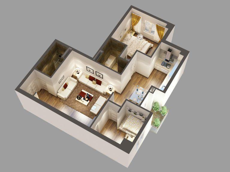 Detailed House Cutaway 3d Model Interior 158974 Denah Rumah Desain Rumah Rumah Minimalis