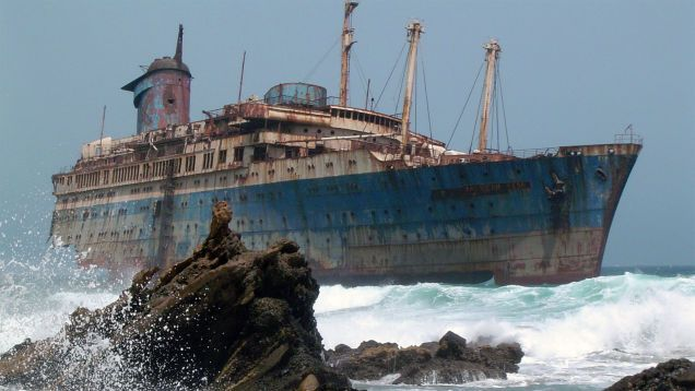 The wreckage of the American Star (SS America), Fuerteventura, Canary Islands.