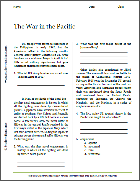 The War in the Pacific - Reading Worksheet | Free to print
