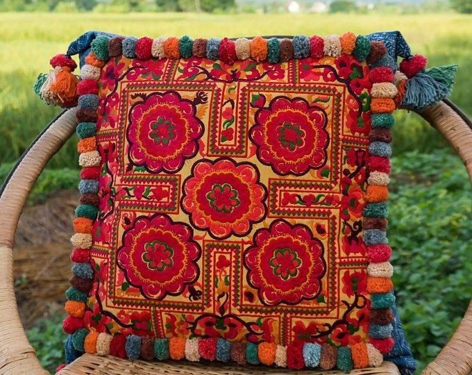 Freehand Embroidered Bohemian Letters Name Pillow Personalized Custom Made Up To Five Letters YelliKelli