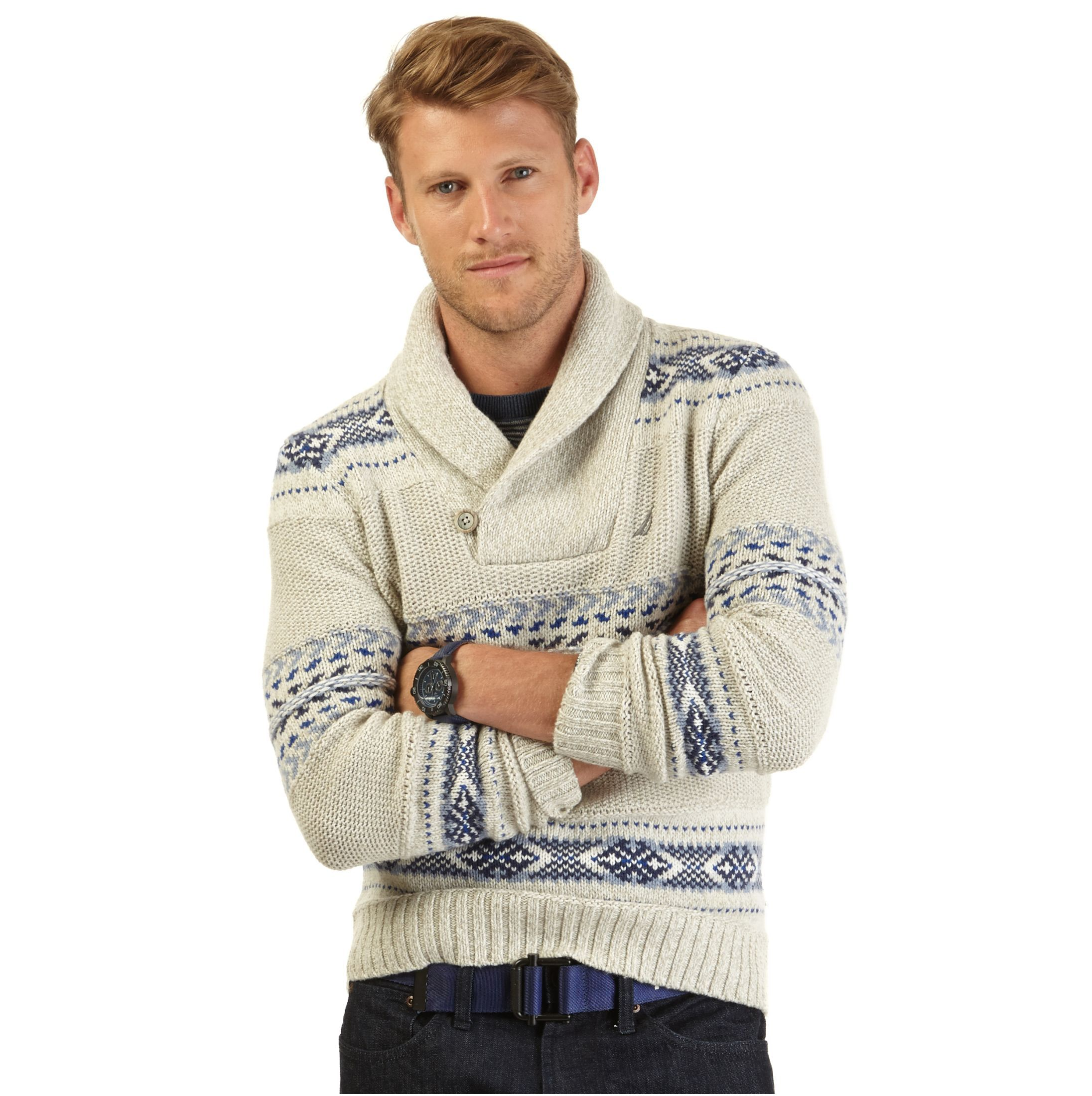 Fair Isle Shawl Collar Sweater - Nautica | The Nautica Holiday ...