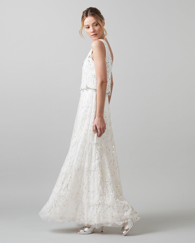 Phase Eight Joanna Sequin Wedding Dress Cream