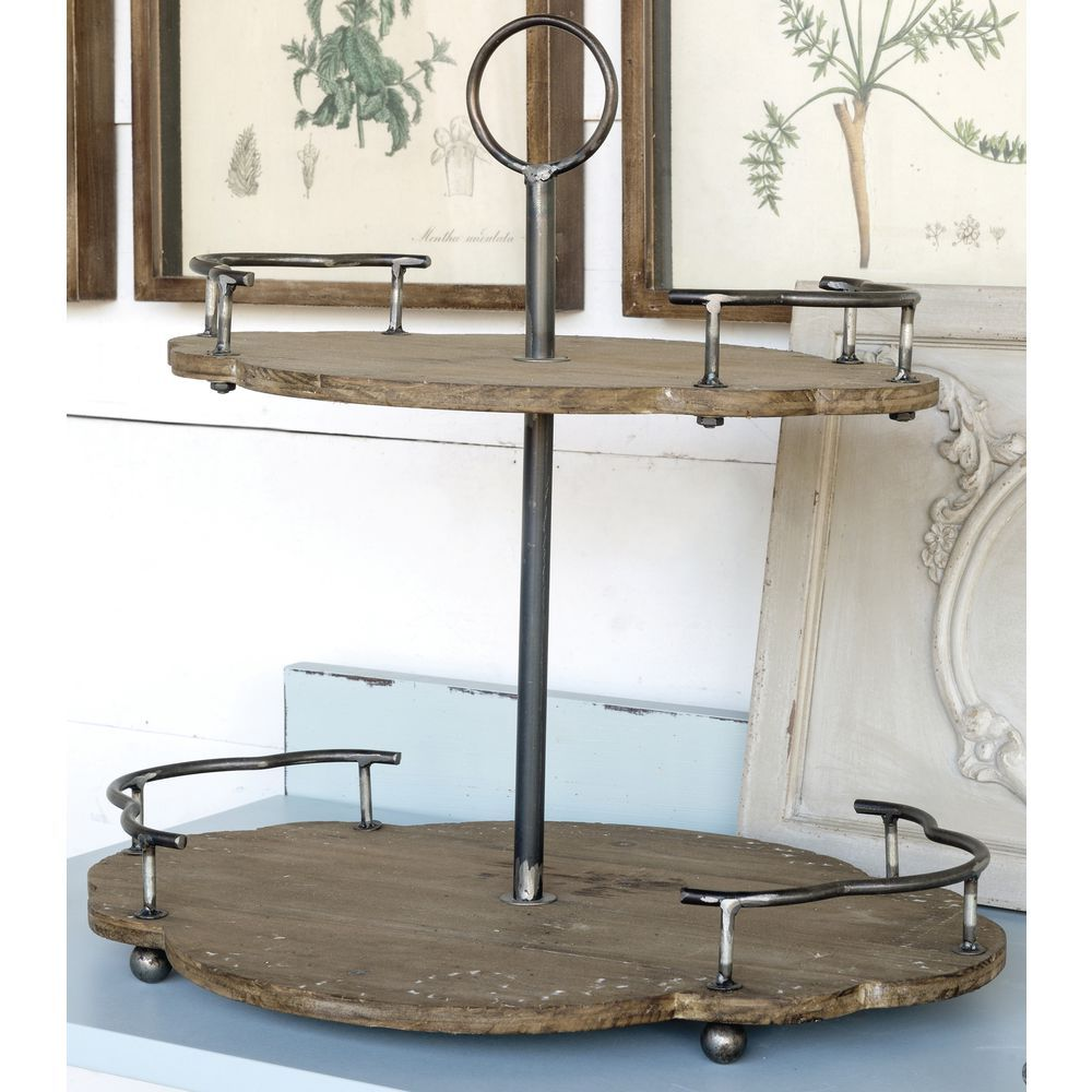 2 Tier Wood And Metal Stand 17 1 2 H Wood And Metal Metal Serving Trays Kitchen Decor