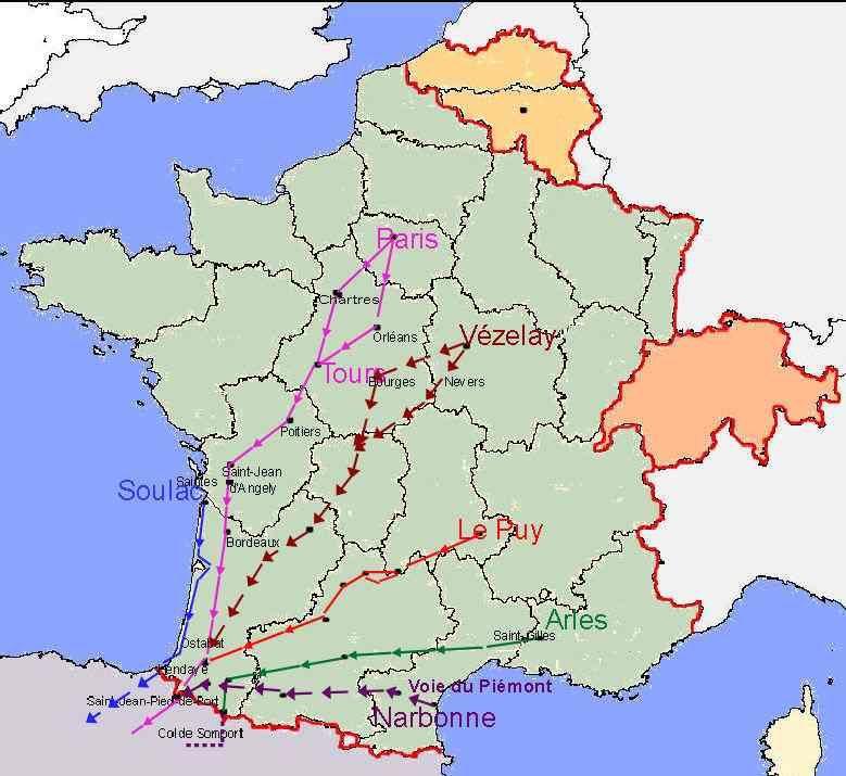 Cartes Des Chemins Vers Saint Jacques De Compostelle Et Dela Via