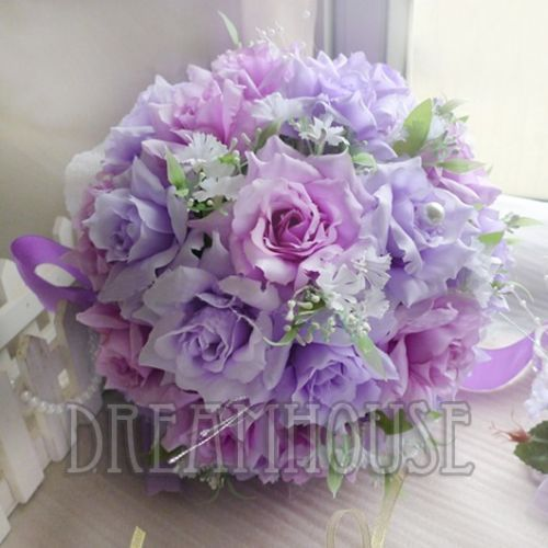 Romantic-Wedding-Bridal-Bouquet-Corsage-Set-Artificial-Roses-W-Pearls-Decoration