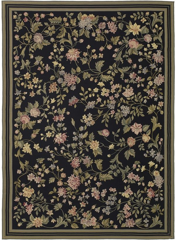 Black Margate Needlepoint Rug In The Tradition Of Bessarabian Rugs