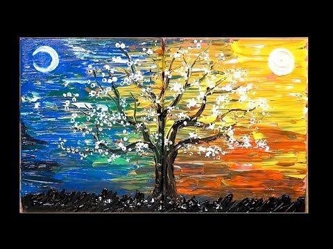 Tecnicas Para Pintar Arboles De Dia Y De Noche Jaylee Youtube Tree Painting Painting Techniques Painting