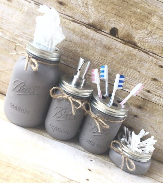 Photo of Contry Bathroom Decor Mason Jars #landbathzimmer #landdekor #bathzimmer #lan …