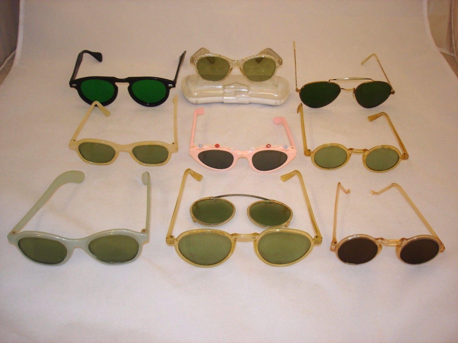 Lot 10 Pairs Vintage Antique Sunglasses Eyeglasses Pince Nez Beatles Catseye