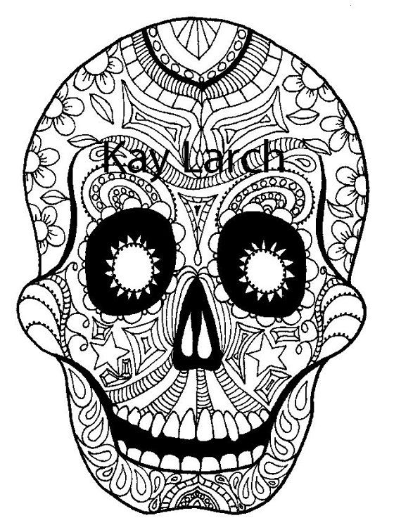 Printable Day of the Dead, Dia de los Muertos, sugar skull coloring ...