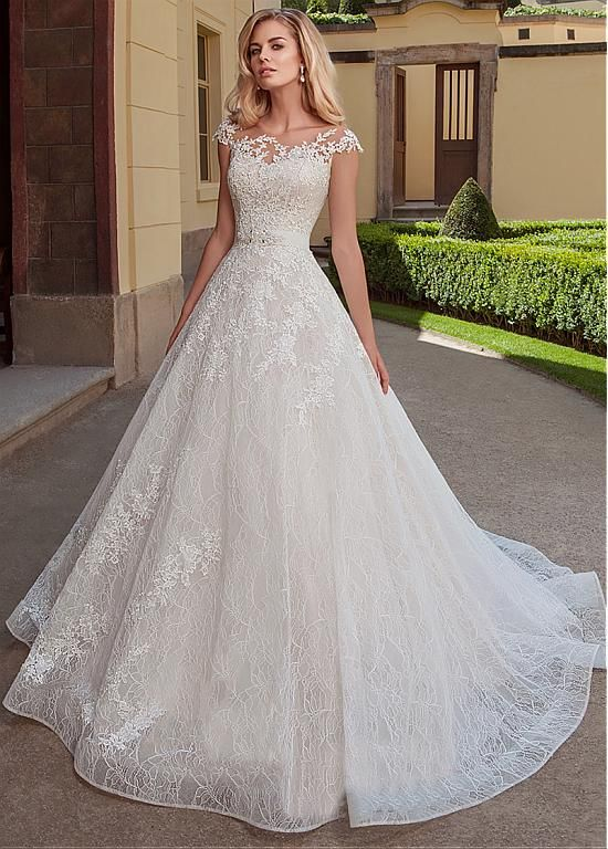 Magbridal Exquisite Tulle & Lace Bateau Neckline A-line Wedding Dresses With Lace Appliques & Belt