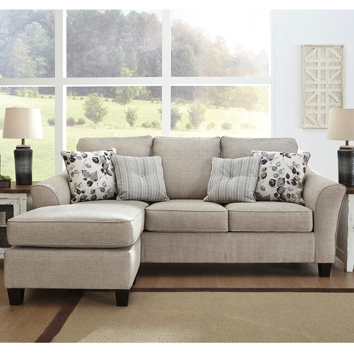 Signature Design By Ashley Abney Sofa With Chaise In Driftwood Nebraska Furniture Mart In 2020 Chaise Sofa Furniture Sofa