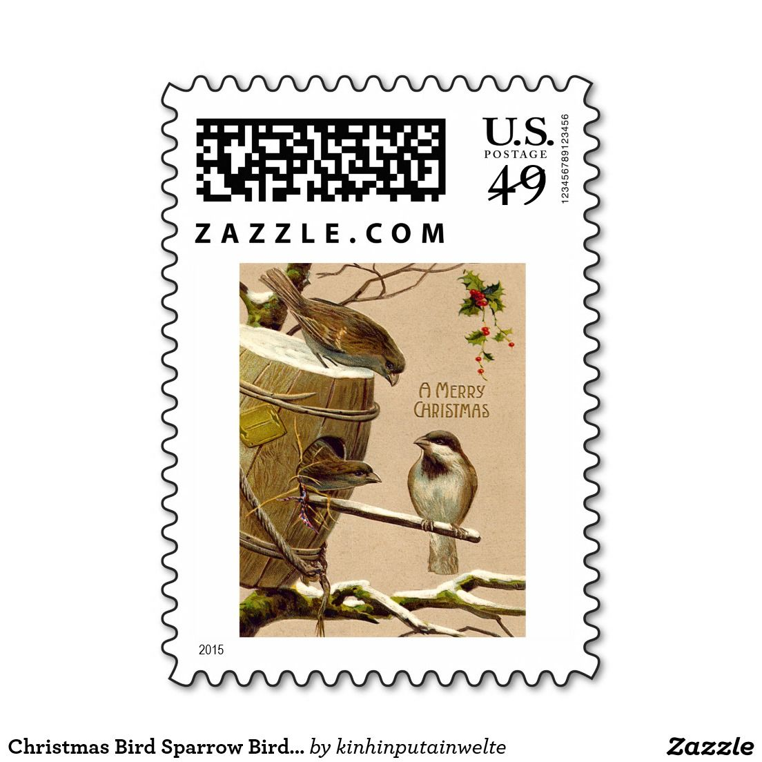Christmas Bird Sparrow Birdhouse Holly Postage Stamps