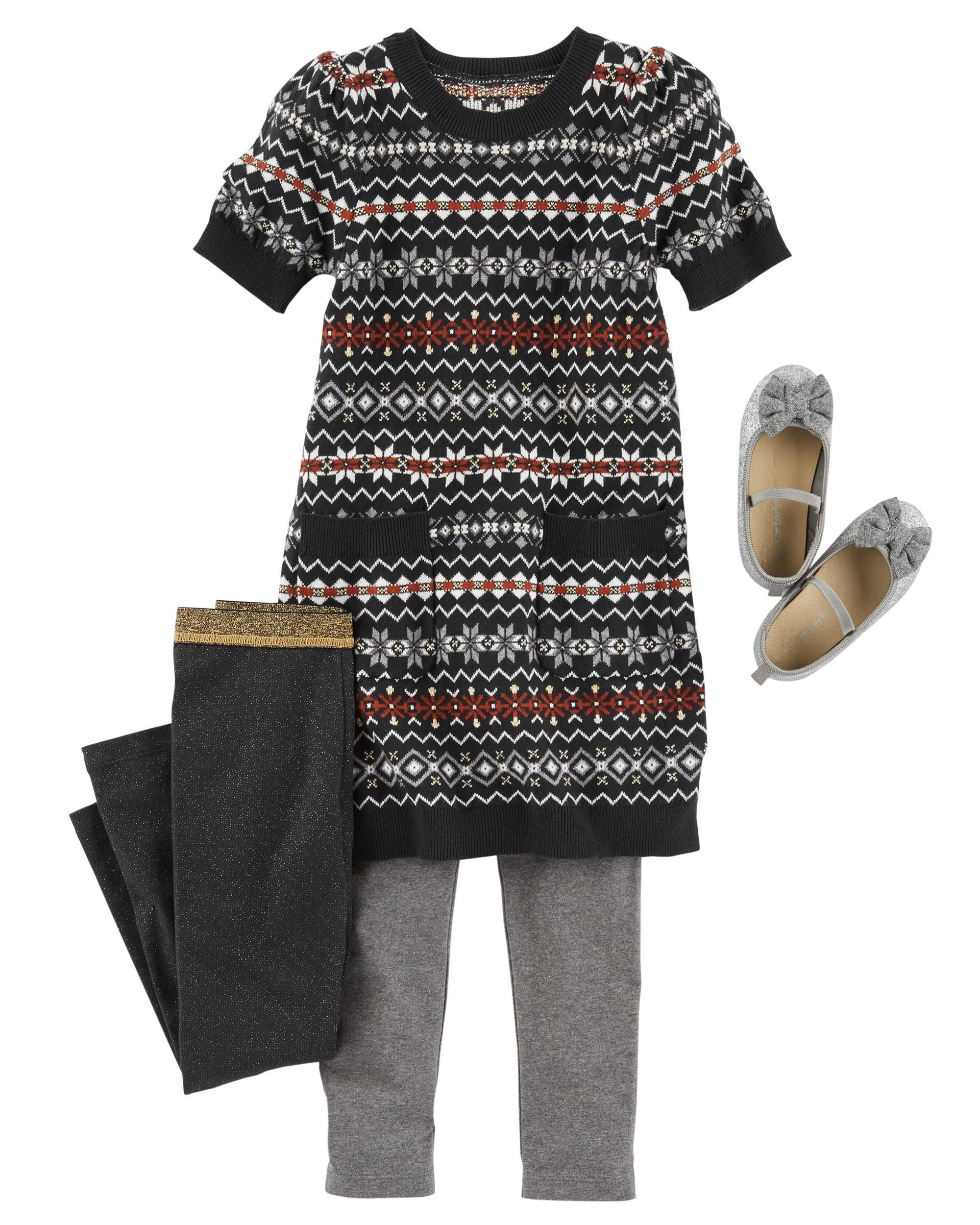 This Fair Isle Sparkle Sweater Dress is perfect for all holiday
