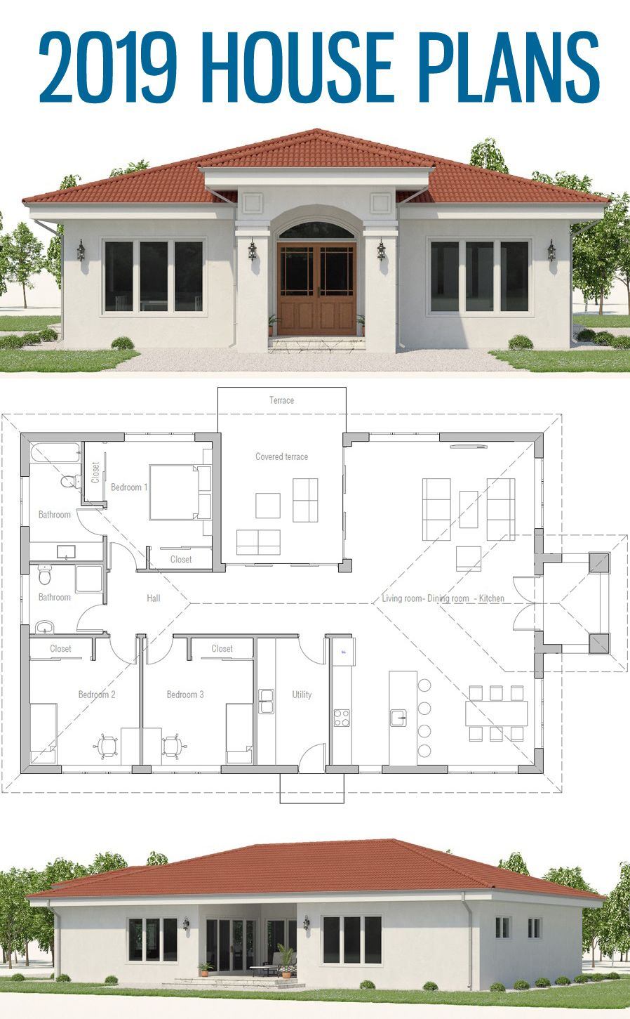Home Design Ideas For 2019: House Plans, Single Strory Home Plan, House Plans 2019