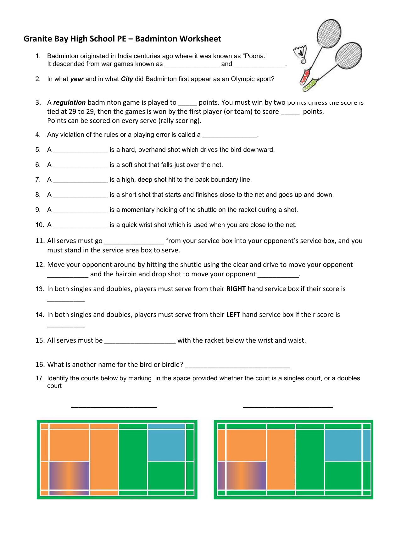 Granite Bay High School Pe Badminton Worksheet