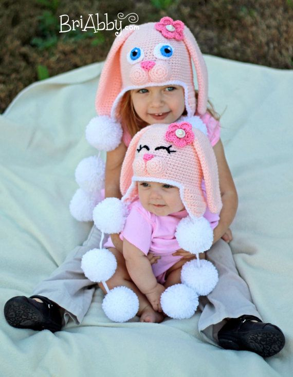 Crochet Sweet Bunny Hat Pattern (PDF FILE) | Niños | Pinterest ...
