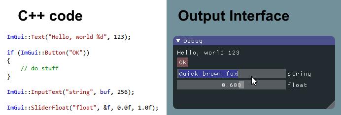 screenshot of sample code alongside its output with ImGui