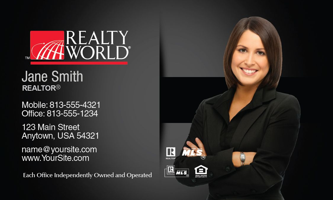 Dark Realty World Business Card Template. | Realty World Milenyum ...