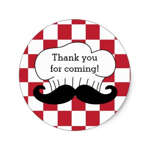 Chefs hat mustache italian pizza party thank you classic round sticker pizza birthday party pinterest pizza party round stickers and pizza birthday