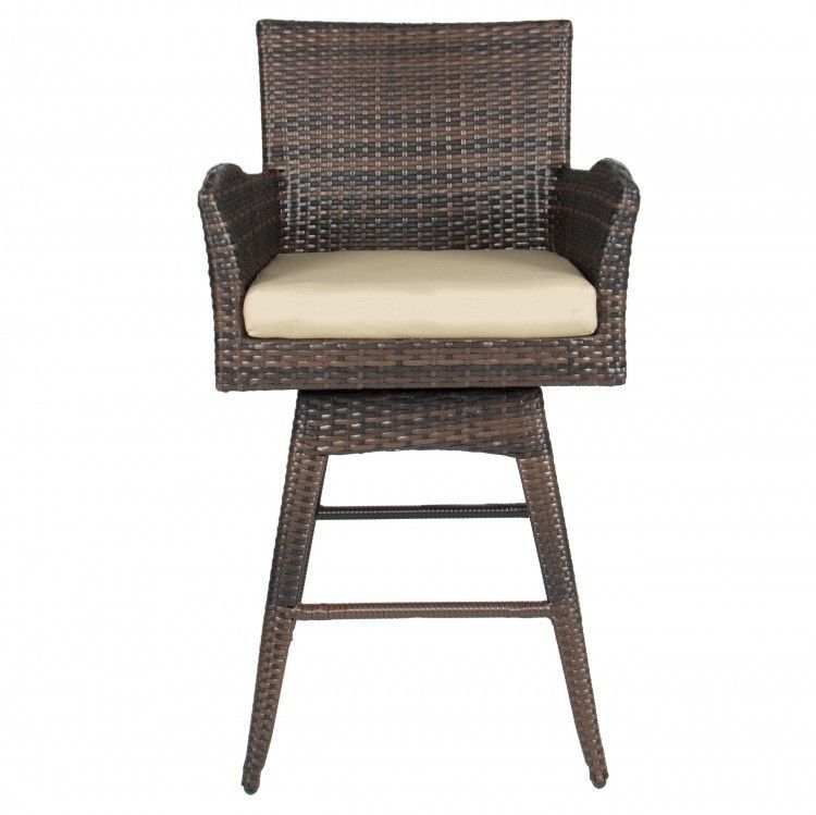Wicker Outdoor Bar Stool Swivel Chair w Cushion Brown Outdoor Patio ...