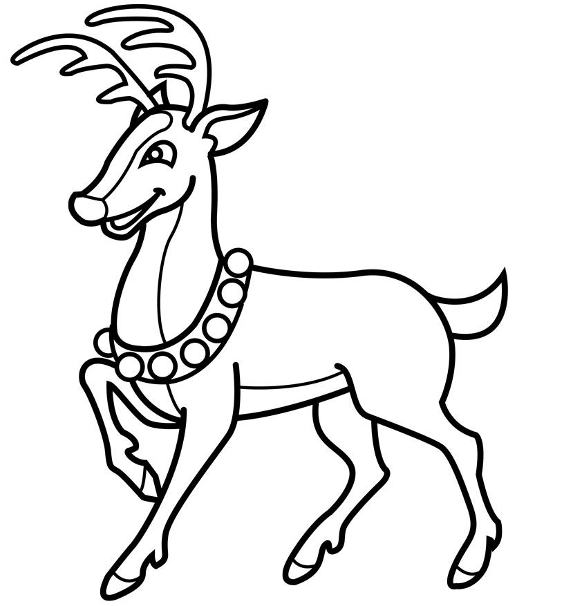 Rudolph Very Happy Christmas Day Coloring For Kids   Rudolph Coloring Pages  : KidsDrawing U2013 Free Coloring Pages Online