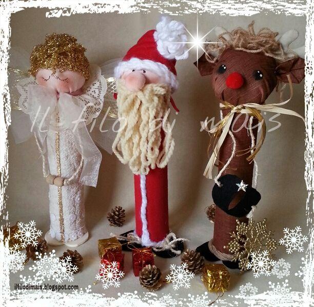 Personaggi natalizi con riciclo rotoli scottex http://ilfilodimais.blogspot.it/2013/11/riciclo-rotoli-dello-scottex-e-palline.html