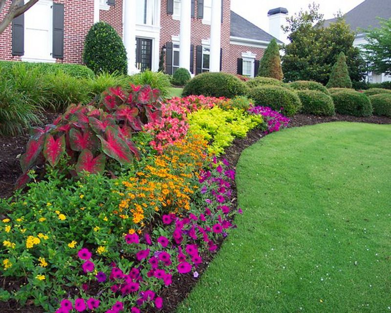 Beautiful Patio Garden Flower Beds Landscape Decoration