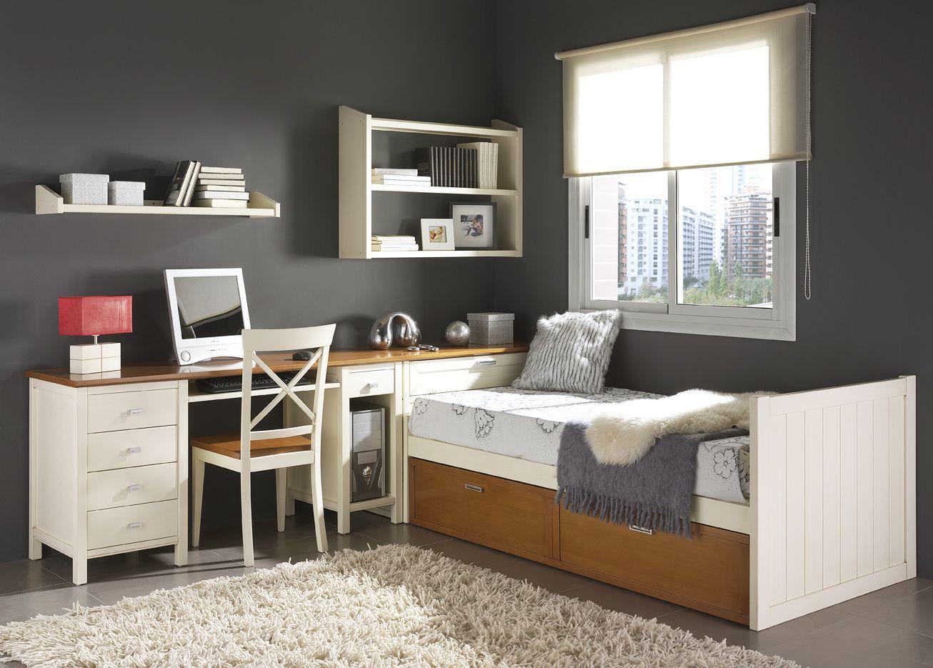 Dormitorio Juvenil de madera cama nido y con escritorio. Más info en ...
