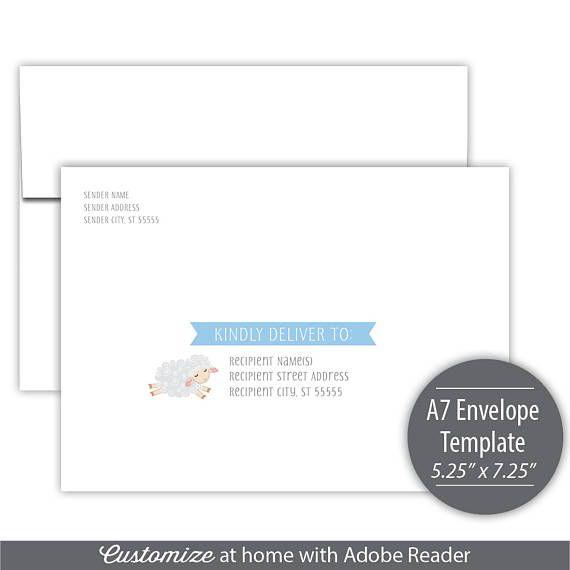 Little Lamb Printable A7 Envelope Template Instant Little Lamb - a7 envelope template