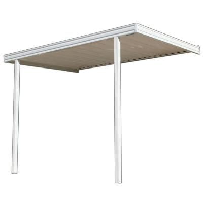 White Aluminum Attached Solid Patio Cover With 2 Posts (10 Lb. Live Load),  Whites