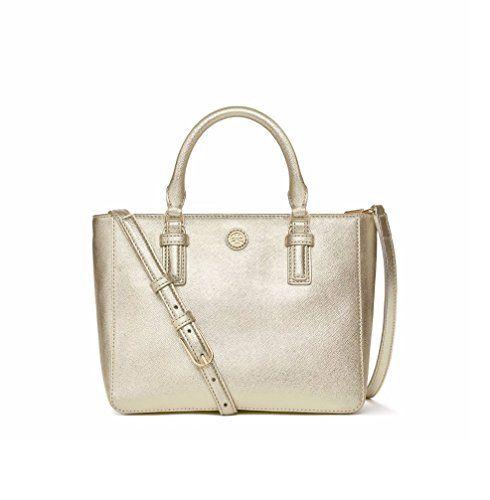 ea335a095609 Tory Burch Robinson Metallic Mini Square Soft Gold Handbag