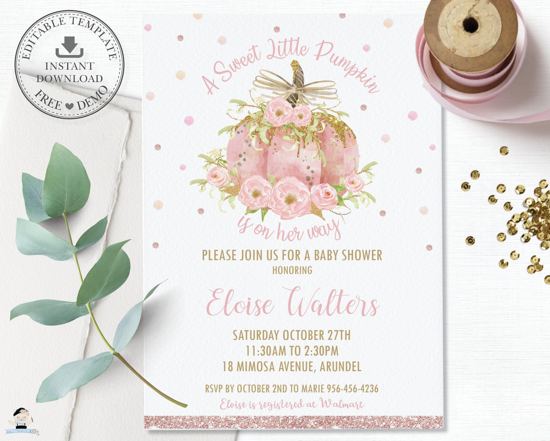 Pumpkin Baby Shower Invitation, EDITABLE TEMPLATE, Pink Pumpkin Printable, Sweet Little Pumpkin Invite, Baby Girl Shower, Floral, Chic, LP2