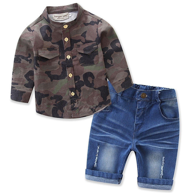 jeans Clothes Outfits Sets Short Sleeve Car T-shirt 3Pcs Kids Boys Plaid shirt
